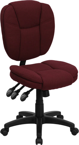 Mid-Back Burgundy Fabric Multi-Functional Ergonomic Task Chair [GO-930F-BY-GG]
