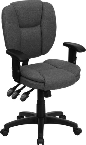 Mid-Back Gray Fabric Multi-Functional Ergonomic Task Chair with Arms [GO-930F-GY-ARMS-GG]