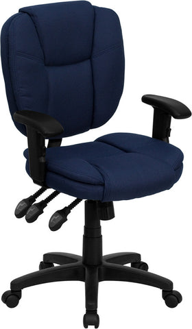 Mid-Back Navy Blue Fabric Multi-Functional Ergonomic Task Chair with Arms [GO-930F-NVY-ARMS-GG]