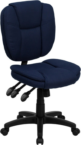 Mid-Back Navy Blue Fabric Multi-Functional Ergonomic Task Chair [GO-930F-NVY-GG]