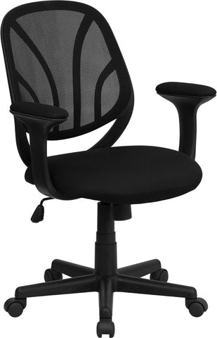 Y-GO Chair™ Mid-Back Black Mesh Computer Task Chair with Arms [GO-WY-05-A-GG]