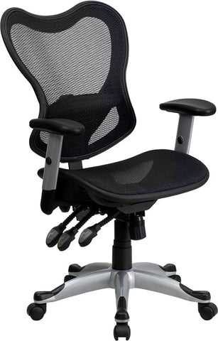Mid-Back Black Mesh Chair with Triple Paddle Control [GO-WY-55-GG]