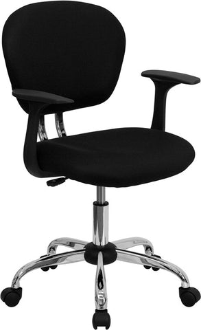 Mid-Back Black Mesh Task Chair with Arms and Chrome Base [H-2376-F-BK-ARMS-GG]