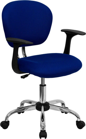 Mid-Back Blue Mesh Task Chair with Arms and Chrome Base [H-2376-F-BLUE-ARMS-GG]