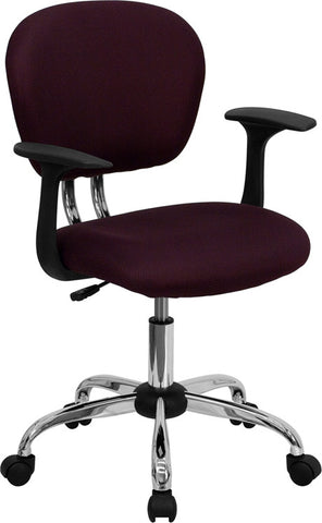 Mid-Back Burgundy Mesh Task Chair with Arms and Chrome Base [H-2376-F-BY-ARMS-GG]