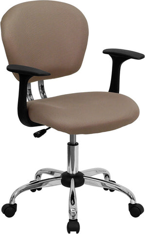 Mid-Back Coffee Brown Mesh Task Chair with Arms and Chrome Base [H-2376-F-COF-ARMS-GG]