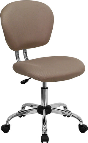 Mid-Back Coffee Brown Mesh Task Chair with Chrome Base [H-2376-F-COF-GG]