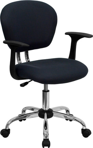 Mid-Back Gray Mesh Task Chair with Arms and Chrome Base [H-2376-F-GY-ARMS-GG]