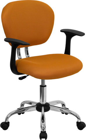 Mid-Back Orange Mesh Task Chair with Arms and Chrome Base [H-2376-F-ORG-ARMS-GG]
