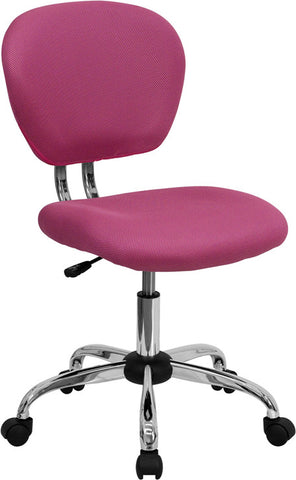 Mid-Back Pink Mesh Task Chair with Chrome Base [H-2376-F-PINK-GG]