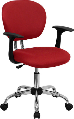 Mid-Back Red Mesh Task Chair with Arms and Chrome Base [H-2376-F-RED-ARMS-GG]