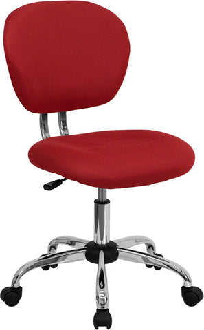Mid-Back Red Mesh Task Chair with Chrome Base [H-2376-F-RED-GG]
