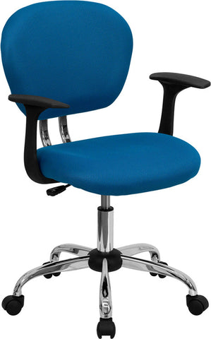 Mid-Back Turquoise Mesh Task Chair with Arms and Chrome Base [H-2376-F-TUR-ARMS-GG]