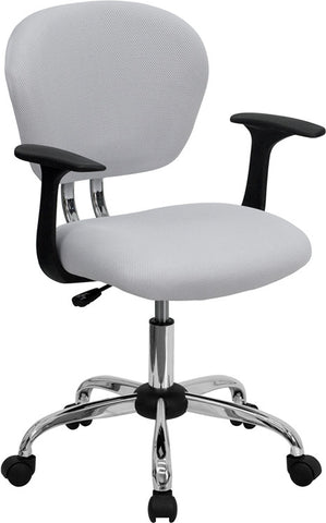 Mid-Back White Mesh Task Chair with Arms and Chrome Base [H-2376-F-WHT-ARMS-GG]