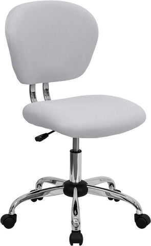 Mid-Back White Mesh Task Chair with Chrome Base [H-2376-F-WHT-GG]