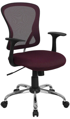 Mid-Back Burgundy Mesh Office Chair with Chrome Finished Base [H-8369F-ALL-BY-GG]