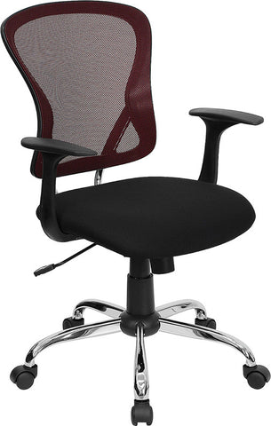 Mid-Back Burgundy Mesh Office Chair with Black Fabric Seat and Chrome Finished Base [H-8369F-BG-GG]