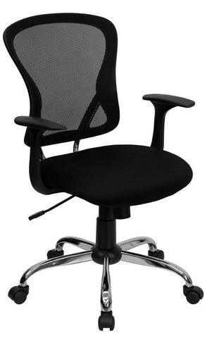 Mid-Back Black Mesh Office Chair with Chrome Finished Base [H-8369F-BLK-GG]