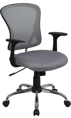 Mid-Back Gray Mesh Office Chair with Chrome Finished Base [H-8369F-GY-GG]