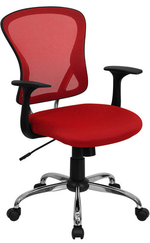 Mid-Back Red Mesh Office Chair with Chrome Finished Base [H-8369F-RED-GG]
