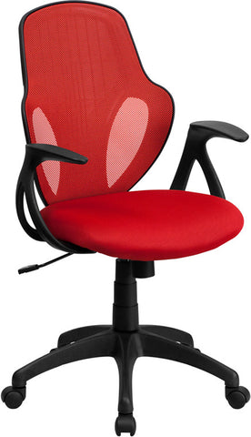Mid-Back Executive Red Mesh Chair with Nylon Base [H-8880F-RED-GG]