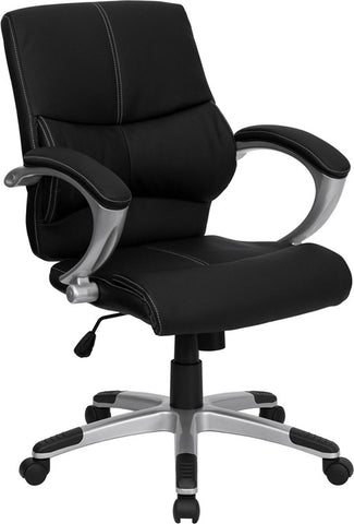 Mid-Back Black Leather Contemporary Manager's Office Chair [H-9637L-2-MID-GG]