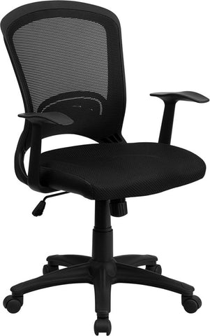 Mid-Back Black Mesh Chair with Padded Mesh Seat [HL-0007-GG]