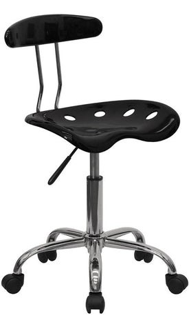 Vibrant Black and Chrome Computer Task Chair with Tractor Seat [LF-214-BLK-GG]