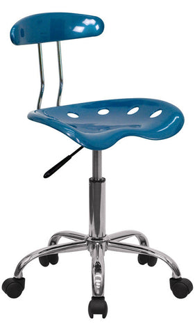Vibrant Bright Blue and Chrome Computer Task Chair with Tractor Seat [LF-214-BRIGHTBLUE-GG]