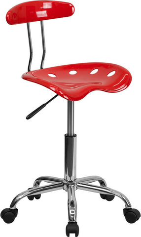 Vibrant Cherry Tomato and Chrome Computer Task Chair with Tractor Seat [LF-214-CHERRYTOMATO-GG]