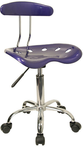 Vibrant Deep Blue and Chrome Computer Task Chair with Tractor Seat [LF-214-DEEPBLUE-GG]
