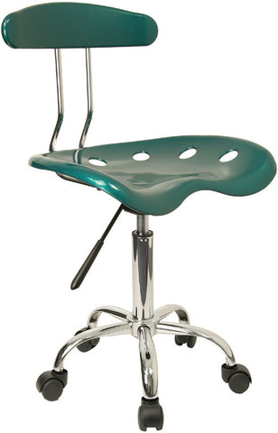 Vibrant Green and Chrome Computer Task Chair with Tractor Seat [LF-214-GREEN-GG]