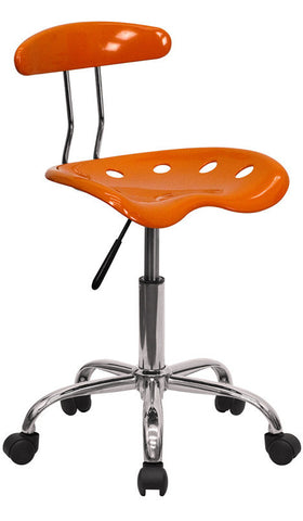Vibrant Orange and Chrome Computer Task Chair with Tractor Seat [LF-214-ORANGEYELLOW-GG]