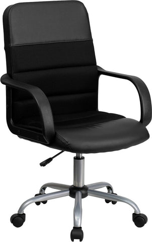 Mid-Back Black Mesh & Leather Chair [LF-W-61B-2-GG]