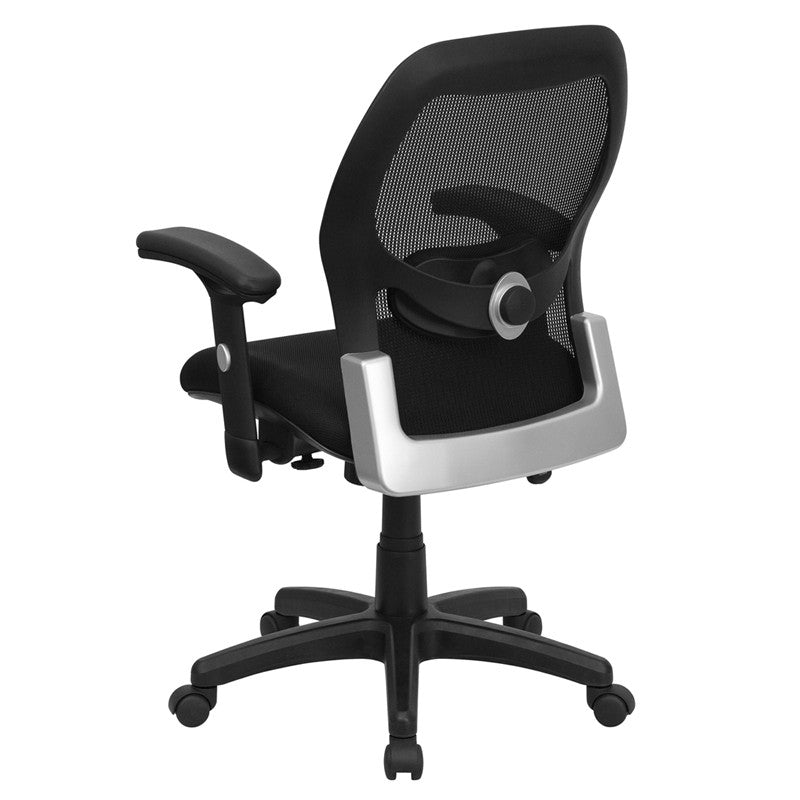 Wonderful Mid Back Super Mesh Office Chair With Black Fabric Seat [LF W42B