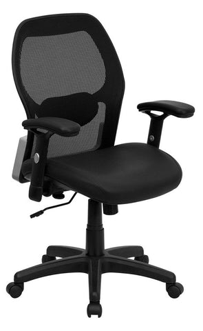 Mid-Back Super Mesh Office Chair with Black Italian Leather Seat [LF-W42B-L-GG]