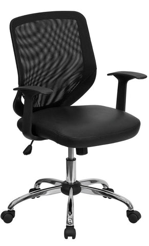 Mid-Back Black Office Chair with Mesh Back and Italian Leather Seat [LF-W95-LEA-BK-GG]