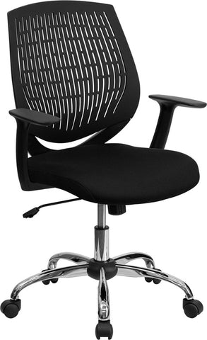 Mid-Back Black Designer Back Task Chair with Arms and Chrome Base [LF-X6-BK-A-GG]