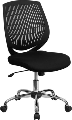 Mid-Back Black Designer Back Task Chair with Chrome Base [LF-X6-BK-GG]