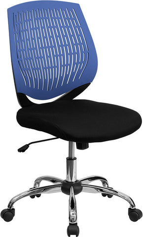 Mid-Back Blue Designer Back Task Chair with Chrome Base [LF-X6-BLUE-GG]