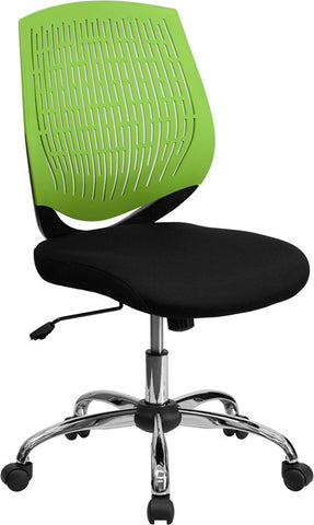 Mid-Back Green Designer Back Task Chair with Chrome Base [LF-X6-GREEN-GG]