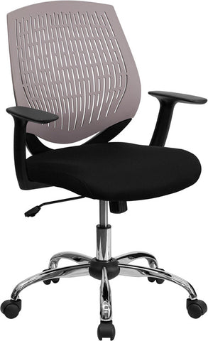 Mid-Back Gray Designer Back Task Chair with Arms and Chrome Base [LF-X6-GREY-A-GG]