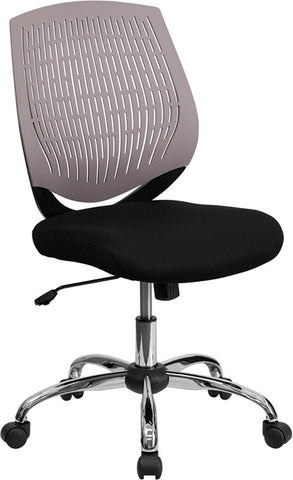Mid-Back Gray Designer Back Task Chair with Chrome Base [LF-X6-GREY-GG]