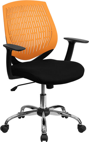 Mid-Back Orange Designer Back Task Chair with Arms and Chrome Base [LF-X6-ORG-A-GG]