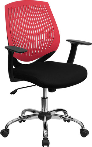 Mid-Back Red Designer Back Task Chair with Arms and Chrome Base [LF-X6-RED-A-GG]