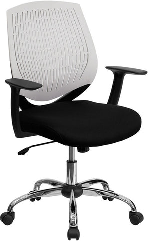 Mid-Back White Designer Back Task Chair with Arms and Chrome Base [LF-X6-WHITE-A-GG]