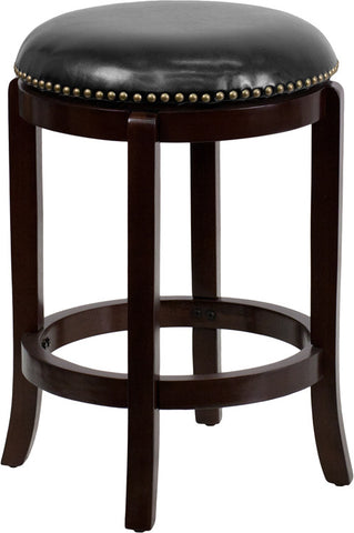 24'' Backless Cappuccino Wood Counter Height Stool with Black Leather Swivel Seat [TA-68924-CA-CTR-GG]
