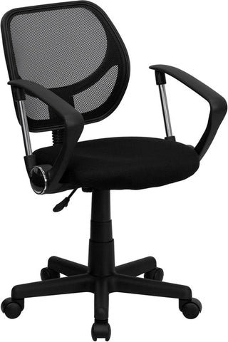 Mid-Back Black Mesh Task Chair and Computer Chair with Arms [WA-3074-BK-A-GG]