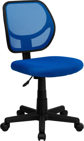 Mid-Back Blue Mesh Task Chair and Computer Chair [WA-3074-BL-GG]