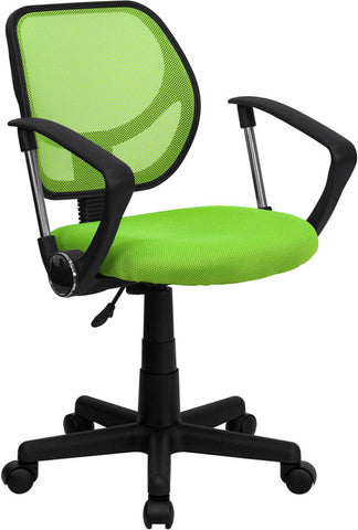 Mid-Back Green Mesh Task Chair and Computer Chair with Arms [WA-3074-GN-A-GG]